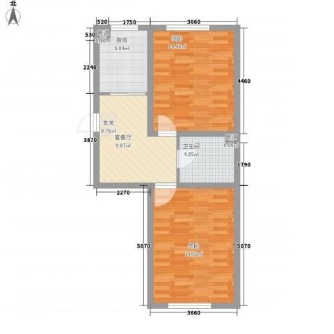 盛阳华苑2室1厅1卫1厨50.42㎡户型图