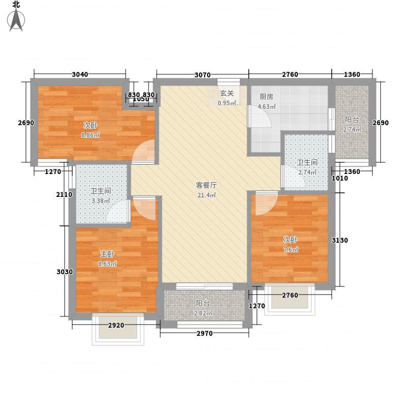 合景天峻B户型3室2厅2卫1厨