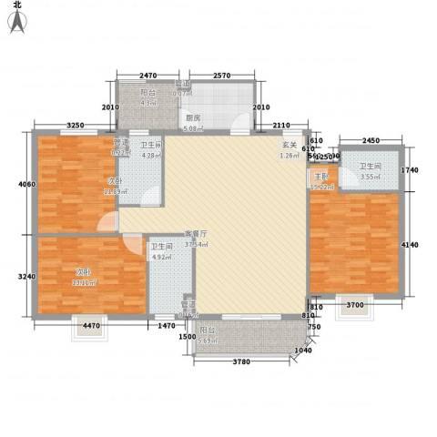 龙泉都市华庭3室1厅3卫1厨176.00㎡户型图