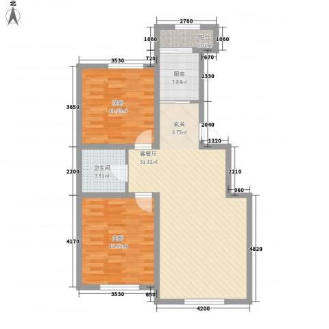 盛阳华苑2室1厅1卫1厨65.24㎡户型图