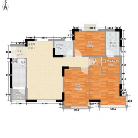 蔬菜研究所家属楼3室1厅2卫1厨118.00㎡户型图