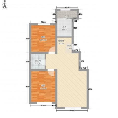盛阳华苑2室1厅1卫1厨88.00㎡户型图