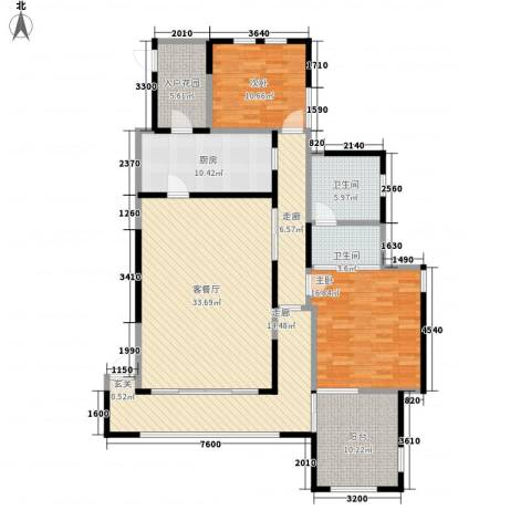 金科帕提欧Ⅱ美遇2室1厅2卫1厨142.00㎡户型图