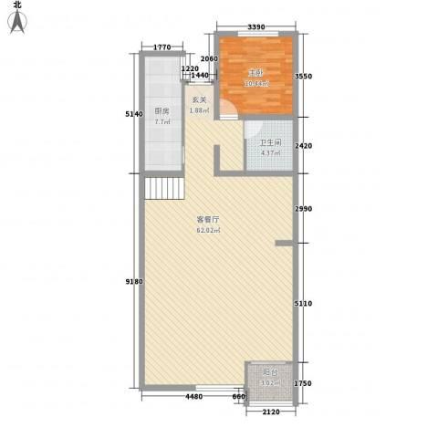 九州公寓1室1厅1卫1厨121.00㎡户型图