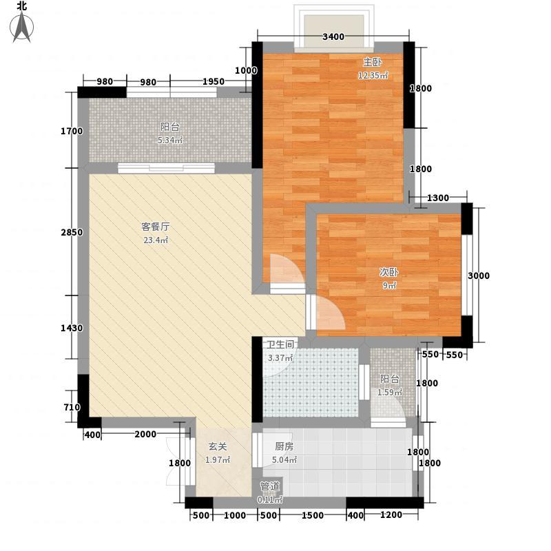 拓新香国城一期84.81㎡一期洋房15/16号楼标准层C户型