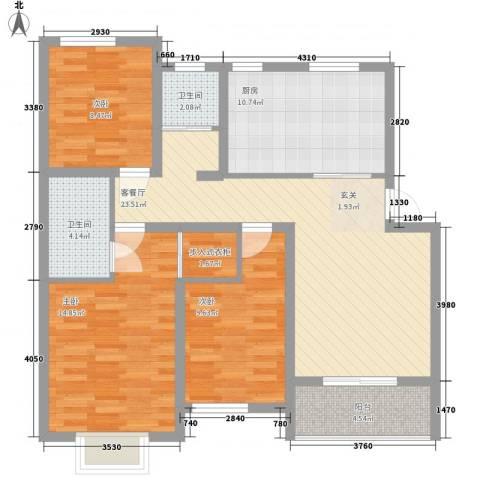 繁华里3室1厅2卫1厨114.00㎡户型图