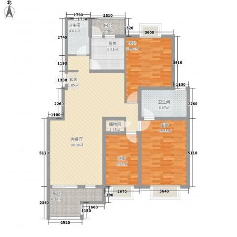 华普东方家园3室1厅2卫1厨104.86㎡户型图