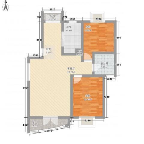 中星海上名庭2室1厅1卫1厨95.00㎡户型图