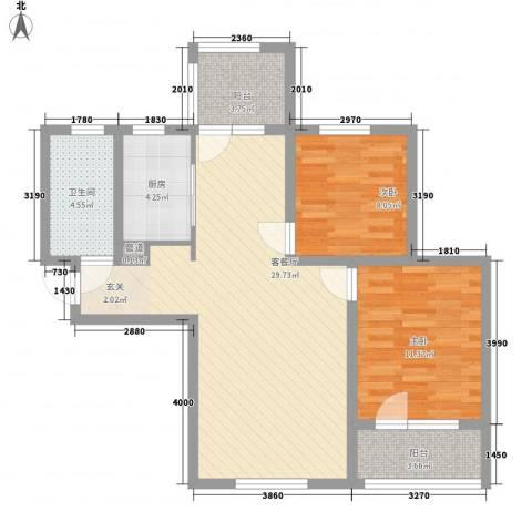 嘉华帕醍欧2室1厅1卫1厨95.00㎡户型图