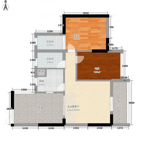 星星华园国际2室1厅2卫1厨77.00㎡户型图