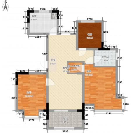 东南郡3室1厅1卫1厨117.00㎡户型图