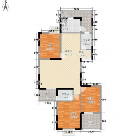 红海名仕公馆3室1厅2卫1厨139.00㎡户型图
