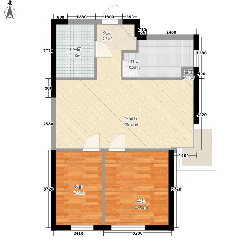 观澜壹号76.00㎡2号楼B2-1户型2室1厅1卫1厨