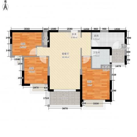 新余恒大城3室1厅1卫1厨105.00㎡户型图