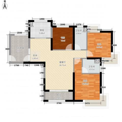 七里香苑云龙阁3室1厅2卫1厨117.00㎡户型图
