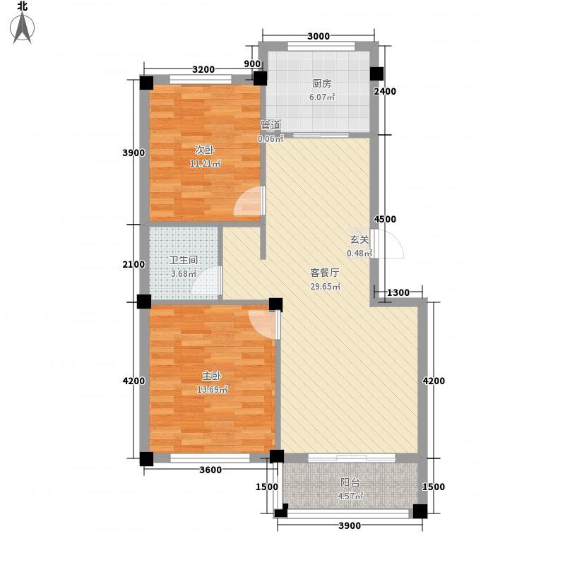 中北金岭世嘉82.20㎡G户型2室2厅1卫1厨