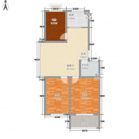 华普东方家园3室1厅1卫1厨123.00㎡户型图