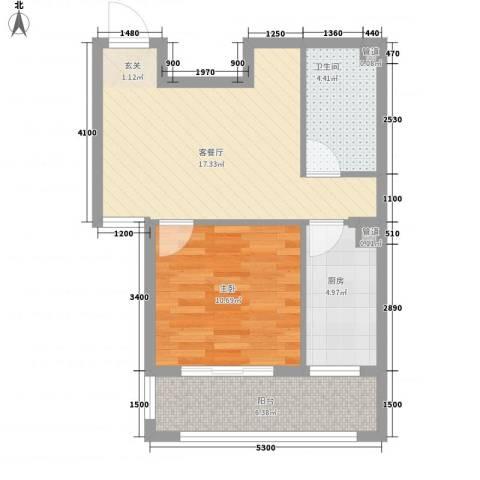 金鼎国际公寓1室1厅1卫1厨64.00㎡户型图
