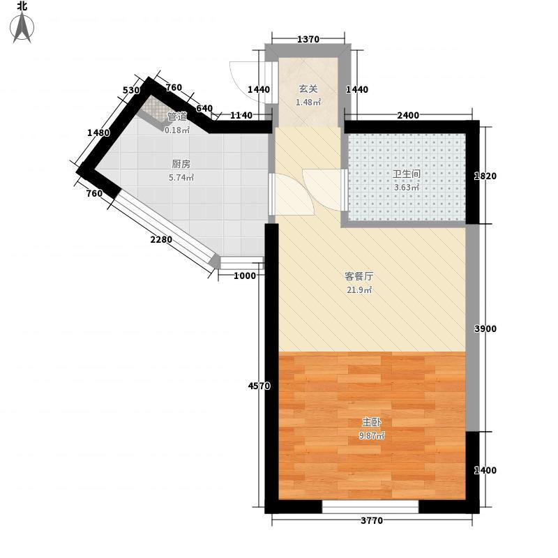 观澜壹号0室1厅1卫1厨45.00㎡户型图
