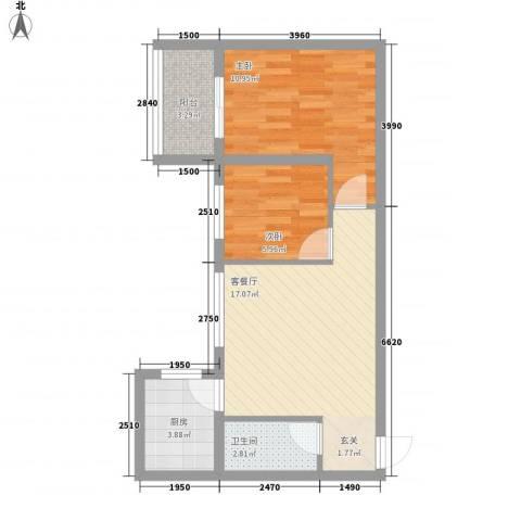 大兴名人居2室1厅1卫1厨63.00㎡户型图