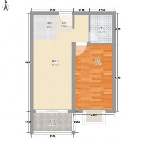 亚龙湾龙溪291室1厅1卫0厨56.00㎡户型图