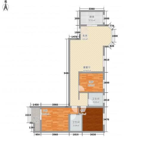 大兴名人居3室1厅2卫1厨122.00㎡户型图