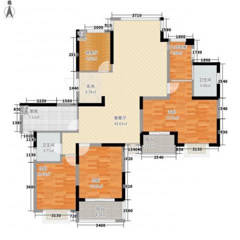 银亿海尚广场3室1厅2卫1厨132.00㎡户型图