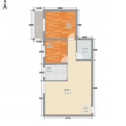 大兴名人居2室1厅1卫1厨61.95㎡户型图