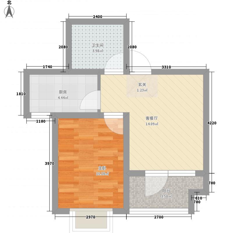 尚品国际1室1厅1卫1厨57.00㎡户型图