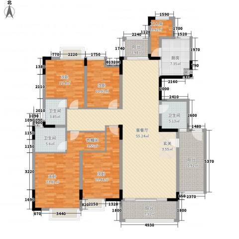 湖景壹号庄园别墅4室1厅3卫1厨187.03㎡户型图