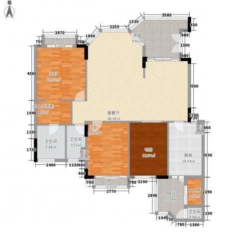 汇景新城柏菲美泉3室1厅3卫1厨160.00㎡户型图