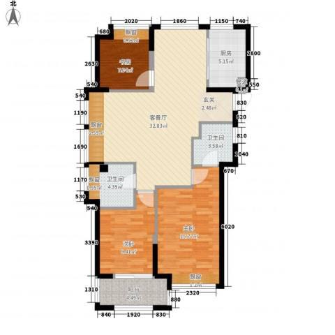 东海繁华里3室1厅2卫1厨117.00㎡户型图