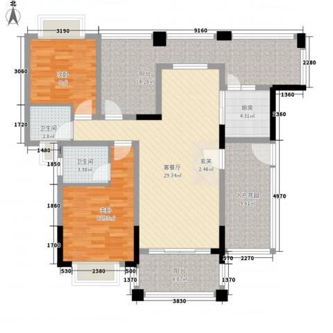 东晋丽苑2室1厅2卫1厨95.34㎡户型图
