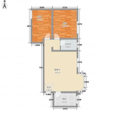 大兴名人居2室1厅1卫1厨70.98㎡户型图