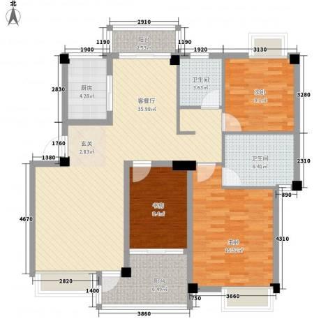 沃得城市中心3室1厅2卫1厨123.00㎡户型图