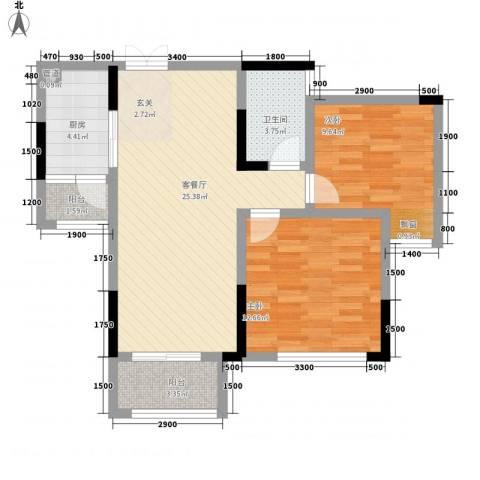 拓新香国城一期2室1厅1卫1厨90.00㎡户型图