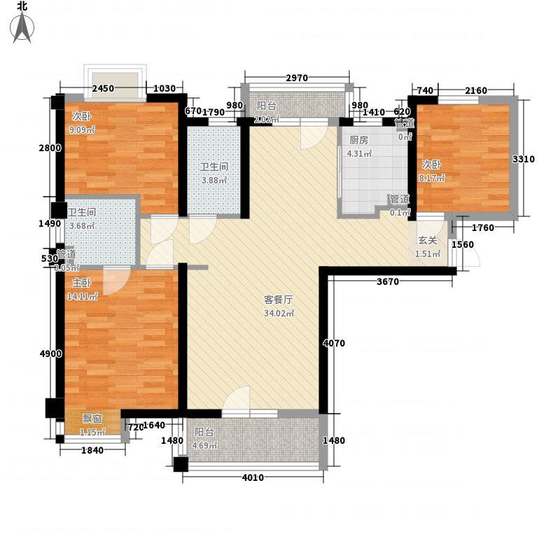 汉江湾壹号124.55㎡2栋3R-01户型3室2厅2卫1厨