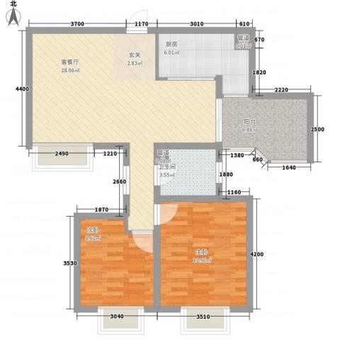 世纪中央城2室1厅1卫1厨89.00㎡户型图