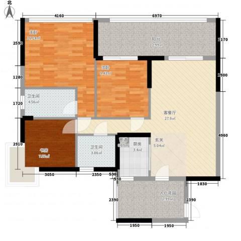 东方新城3室1厅2卫1厨134.00㎡户型图