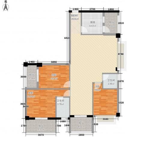 亿力悦海3室1厅2卫1厨108.36㎡户型图