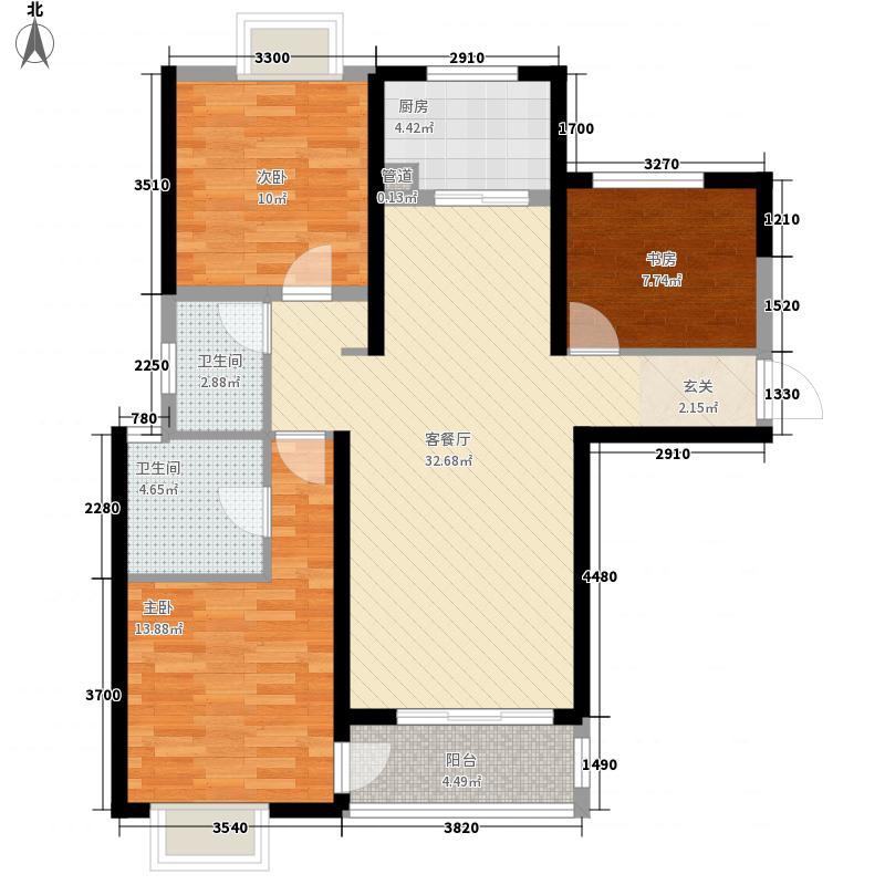 蓝鼎滨湖假日枫丹园111.13㎡一期C1户型3室2厅2卫1厨