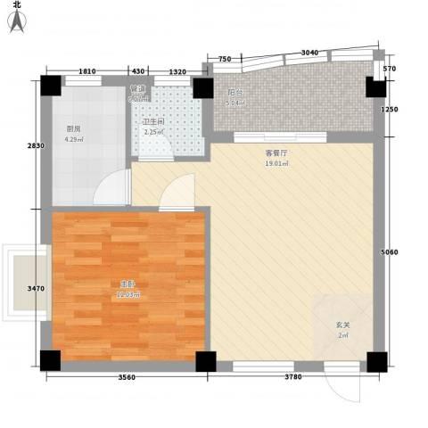 水岸花都1室1厅1卫1厨60.00㎡户型图
