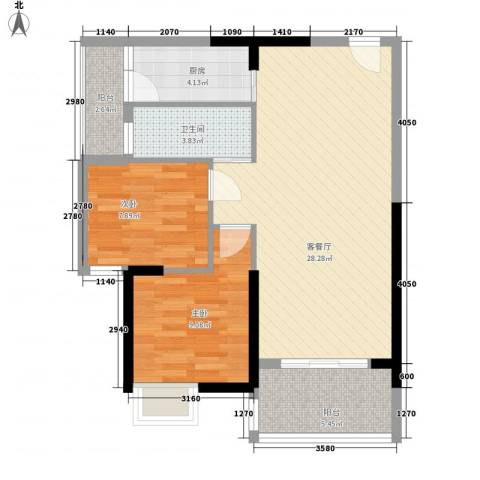 水岸花都2室1厅1卫1厨61.29㎡户型图