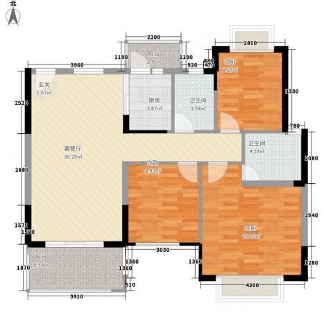 华南花园3室1厅2卫1厨117.00㎡户型图