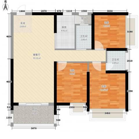 水岸花都3室1厅2卫1厨80.31㎡户型图