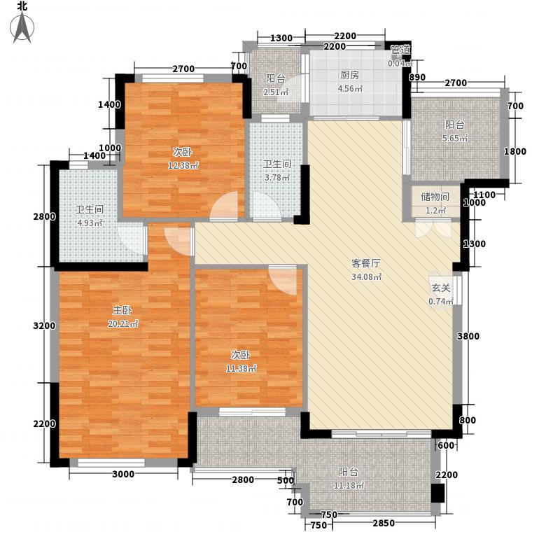 富力盈溪谷13.00㎡洋房B户型3室2厅2卫1厨