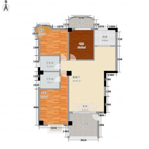 鼓浪湾3室1厅2卫1厨125.00㎡户型图