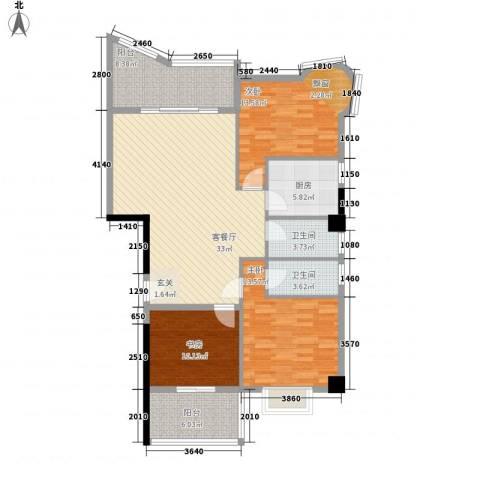 鼓浪湾3室1厅2卫1厨114.00㎡户型图
