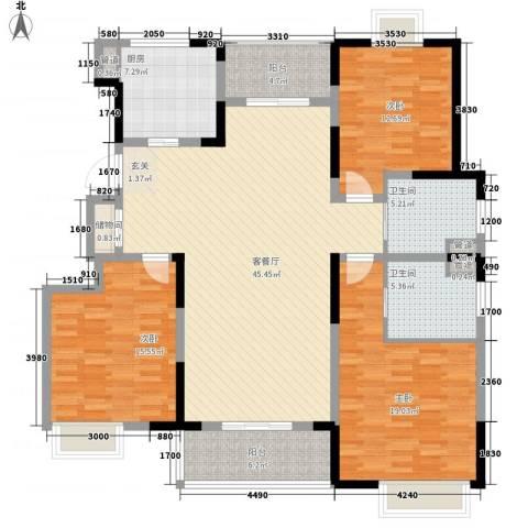 青虹新居3室1厅2卫1厨175.00㎡户型图