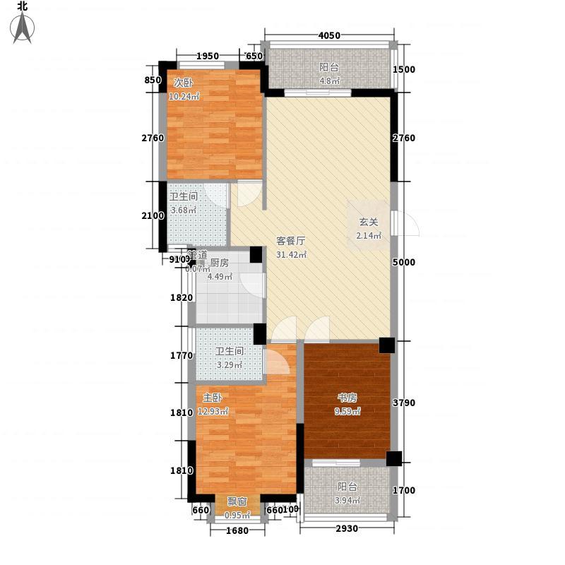银亿上郡3室1厅2卫1厨84.44㎡户型图